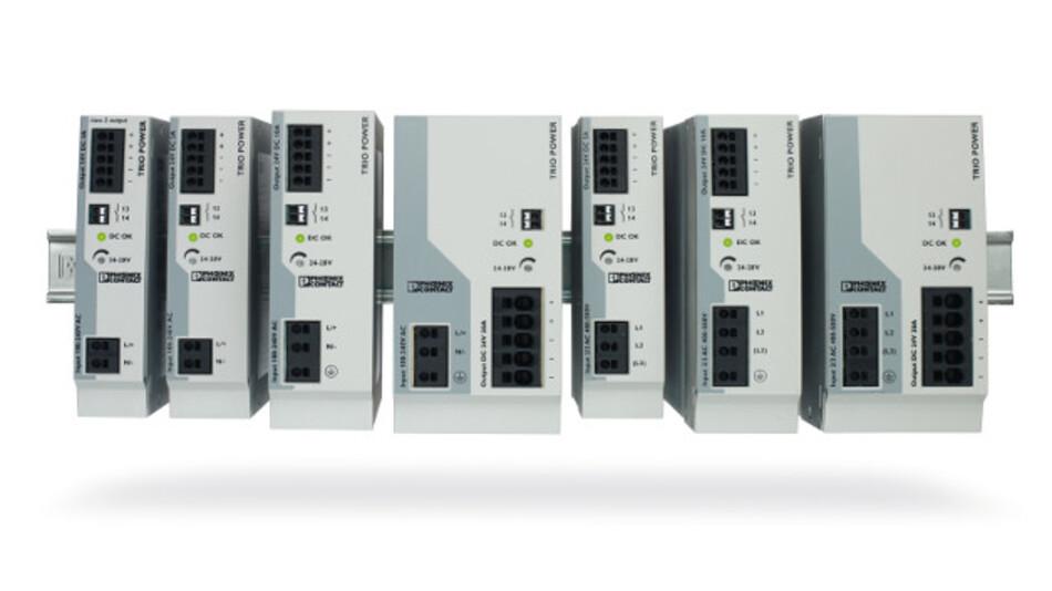 Die Stromversorgungen Trio Power liefern 24 DC Ausgangsspannung und Ausgangsströme von 3 bis 20 A.