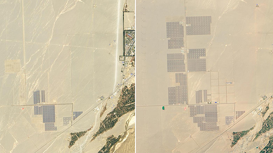 China baut seine Ressourcen an erneuerbaren Energien weiter aus. In der Wüste Gobi baut das Land seit 2009 ein Solarkraftwerk. Die von Solarpanelen bedeckte Fläche hat sich laut NASA von 15. Oktober 2012 bis zum 22. Mai 2015 um das dreifache erhöht. Nun steht ein neues Projekt an: Ein 25 Quadratmeter großes Solarthermie-Kraftwerk soll entstehen.