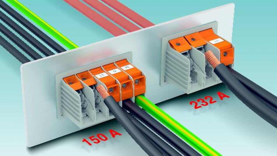 Die neuen Hochstrom-Durchführungsklemmen mit T-LOX-Anschlusstechnik sind in zwei Ausführungen verfügbar: für Ströme bis 150 A und für Ströme bis 232 A.
