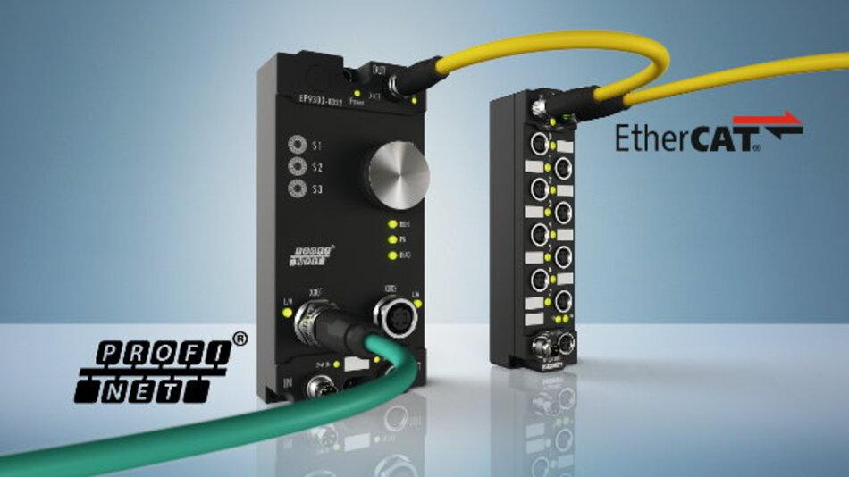 Mit der »EtherCAT Box EP9300-0022« können Profinet-Anwender die Vorteile des EtherCAT-I/O-Systems nutzen, etwa flexible Topologie, große Signalvielfalt und kurze I/O-Update-Zeiten.