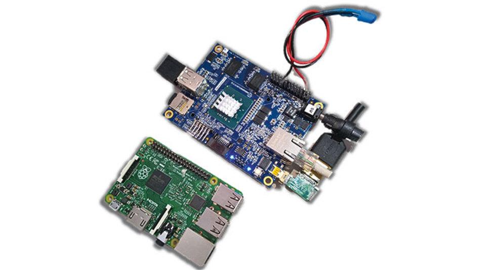 Bild 1. Raspberry Pi 2 und MinnowBoard Max sind die Zielsysteme, für die Microsoft zunächst ein fertiges Image von Windows 10 IoT bereitstellt.