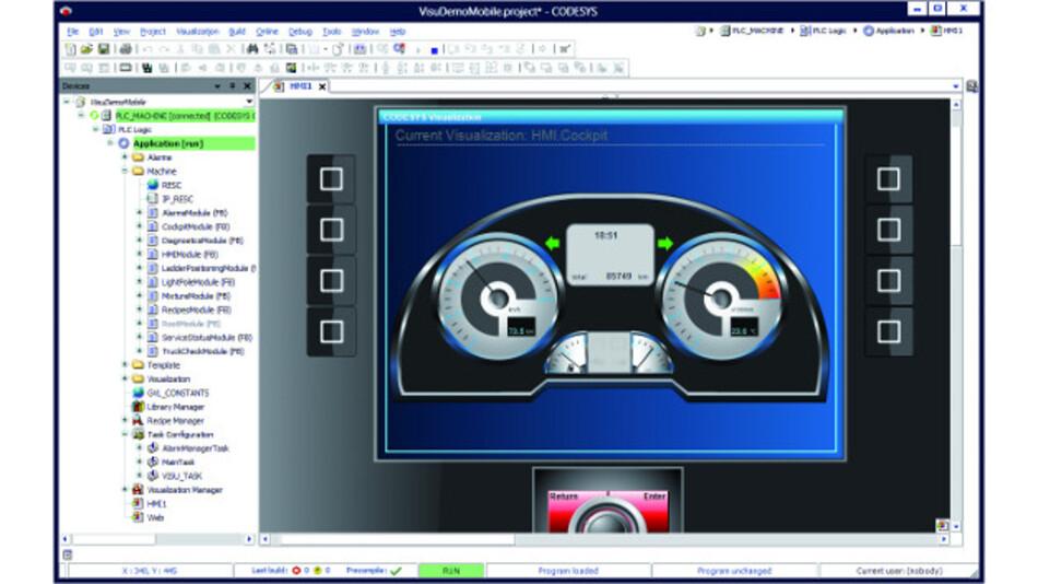 Projektierung einer Bedienoberfläche für mobile Maschine direkt im IEC-61131-3-Entwicklungssystem
