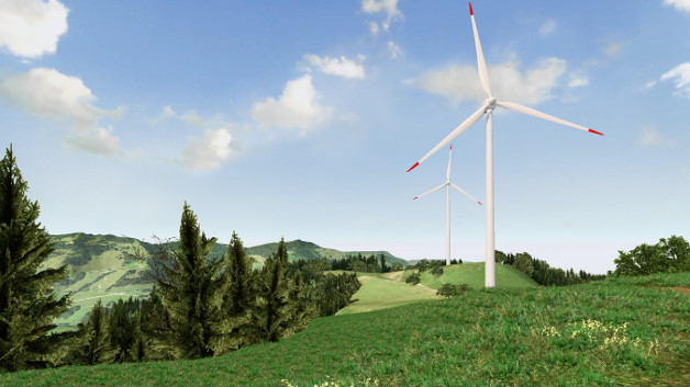 Simulierter Windpark im Hügelgebiet