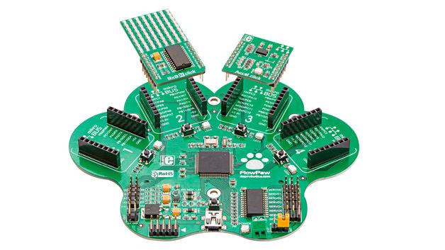 Die Hardware des IoT-Experimentierpakets besteht aus einer pfotenförmigen Platine mit vier »Klauen«, auf der die Sensoren bzw. Click-Boards aufgesteckt werden können.