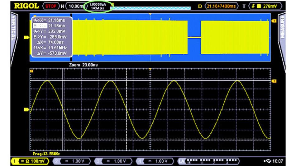 Bild 2: Aufgezeichnetes Signal, um den Faktor 500.000 gestreckt.