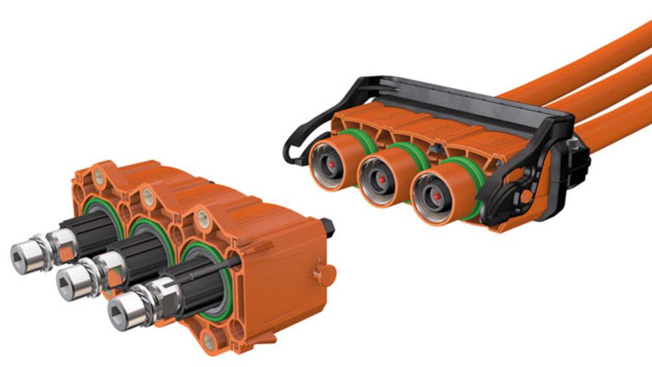 Bis zu 300 A Dauerstrom kann das Steckverbinderkonzept »PerforMore« mit recht geringem Leistungsverlust übertragen