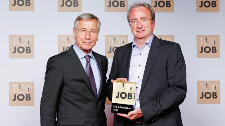 Wolfgang Clement (l.), ehemaliger Bundeswirtschaftsminister,  mit GBS-Geschäftsführer Roland Hollstein