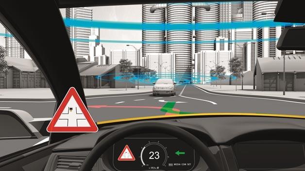 Linksabbiegeassistent auf Basis der Fahrzeug-zu-X-Kommunikation.