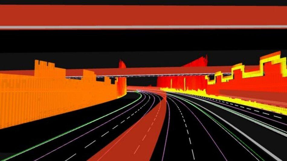 3D-Darstellung von Spurmittellinien, Spurteilern, Straßengrenzen und Leitplanken.