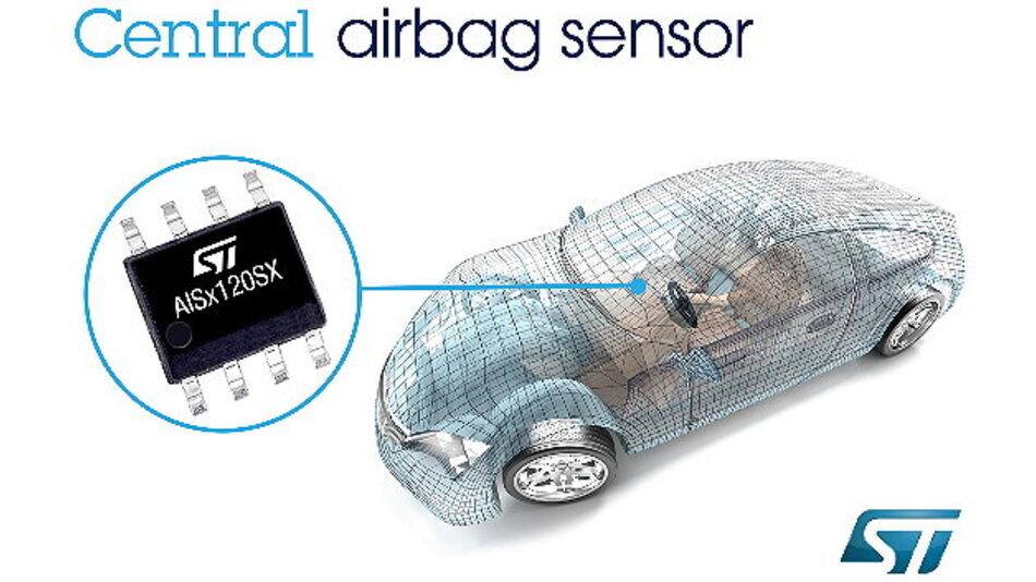 Neue zentrale Aufprallsensoren komplettieren das Airbag-Elektronik-Kit von STMicroelectronics.