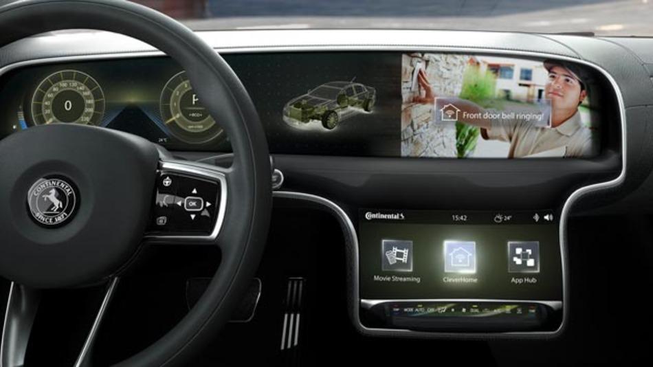 Ins Fahrzeug integrierte Clever-Home-Anwendungen sind bspw. Lösungen zur Kommunikation mit der Haustürklingel oder umfangreiches Audio- und Video-Streaming.