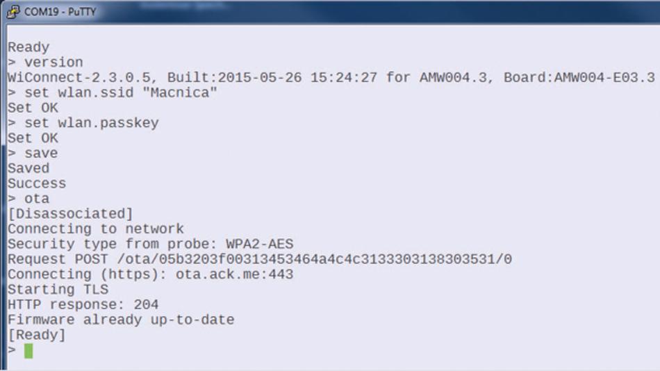 Bild 1: Mit nur drei Befehlen lässt sich das Modul »Wallaby« von ACKme mit einem Accesspoint verbinden und ein Update der Firmware initiieren