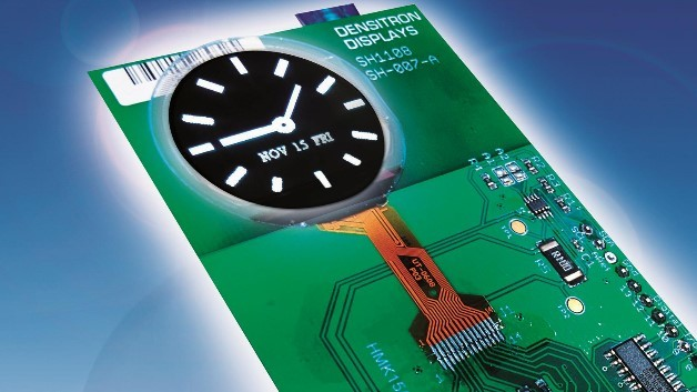 Serienreif: Densitrons rundes, 1,07 Zoll großes Schwarz-Weiß-OLED-Display hat eine Auflösung von 136 x 160 Pixel und eine Helligkeit von 200 cd/m2.