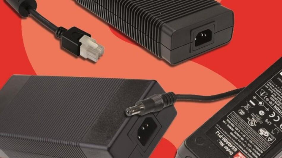 Leistungen von 40 bis derzeit 280 W bei einer Leerlaufleistung von maximal 0,5 W erreicht Meanwells externe Tischnetzteil-Serie GST im Vertrieb von Schukat electronic.