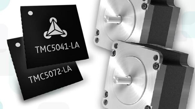 Zwei Motoren dauerhaft mit 1,1 A treiben Trinamics vollintegrierte Schrittmotor-Controller-Treiber MCUs TMC5041 und TMC5072 (Vertrieb: MEV).