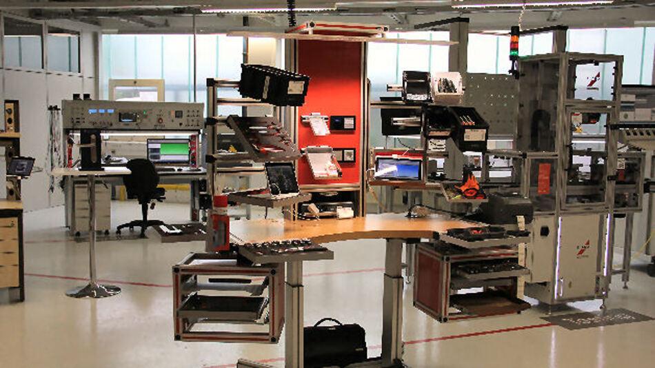 Blick auf das Arbeitsplatz-Verbundsystem in der Elabo-Smart-Factory
