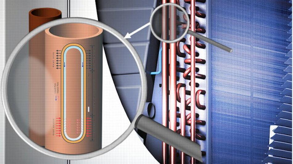 Bei der Heat Pipe handelt sich um ein hermetisch gekapseltes Rohr, das mit einem Arbeitsmedium (= Kältemittel R134a) gefüllt ist. Im Rohr der befindet sich das Medium zu einem kleinen Teil im flüssigen und zu einem größeren Teil im dampfförmigen Zustand. Bei Wärmeeintrag auf der Schaltschrankinnenluftseite beginnt das Arbeitsmedium in der Heat Pipe zu verdampfen.