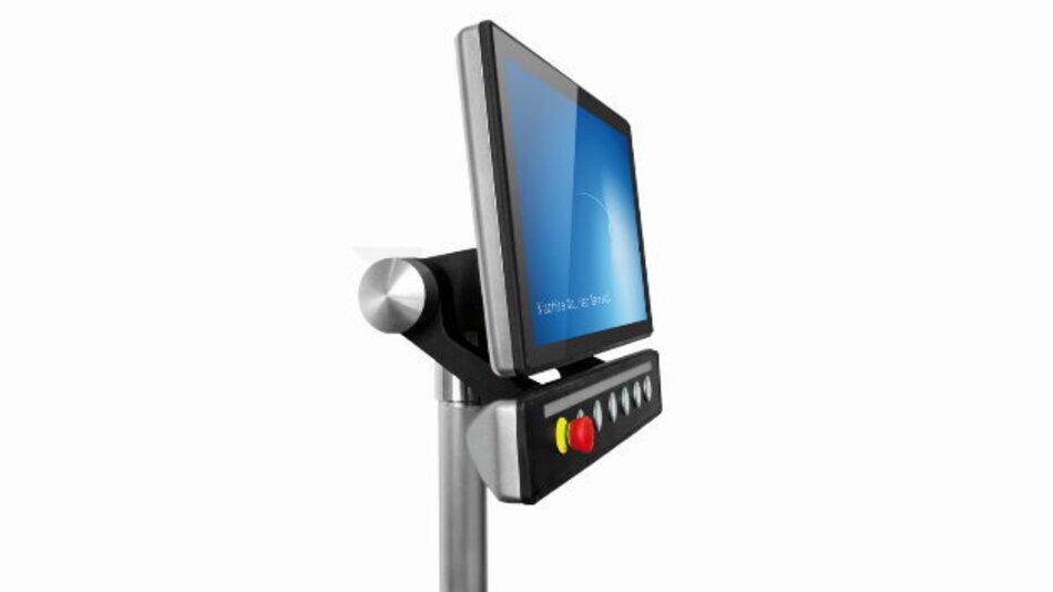 Messeneuheit und RedDot-Gewinner: Das Machine-Mounted-Terminal MMT8017/8024 von ads-tec für die Maschinen- und Anlagenbedienung.