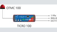 Bild 4: Für den portablen Einsatz kann die von Omicron Lab entwickelte antennenintegrierte PTP-Grandmaster-Clock »OTMC 100« direkt an den Ticro 100 angeschlossen und auch von diesem versorgt werden. Dadurch kann der Zeitkonverter auch ohne PTP-fähige