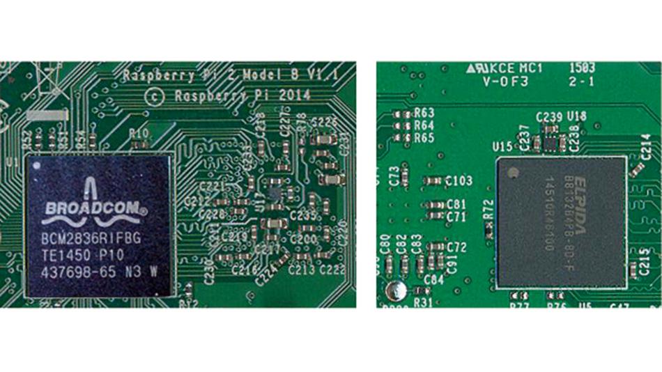 Bild 1. Beim Raspberry Pi 2 Model B ist der Broadcom-Chip (links) genau zu identifizieren und der SDRAM-Speicher ist in einem separaten Chip auf der Platinenrückseite (rechts) untergebracht.
