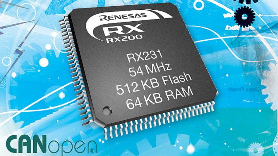 Der CANopen-Protokollstack von Port steckt jetzt im RX231-Mikrocontroller von Renesas.