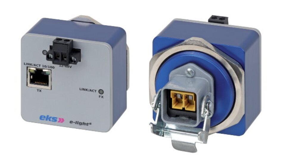 Optische Datenübertragung in der Feldebene ist die Domäne des Ethernet-Medienkonverters »E-light S« von eks Engel.