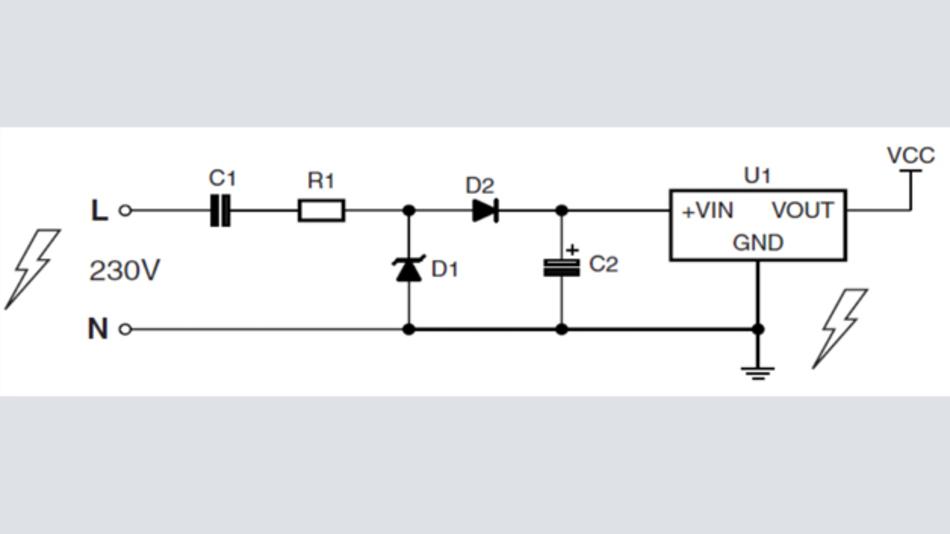 Bild 1: Spannungsabfall-Kondensator in Serie zur Wechselstromleitung in einer kostengünstigen kapazitiven Stromversorgung
