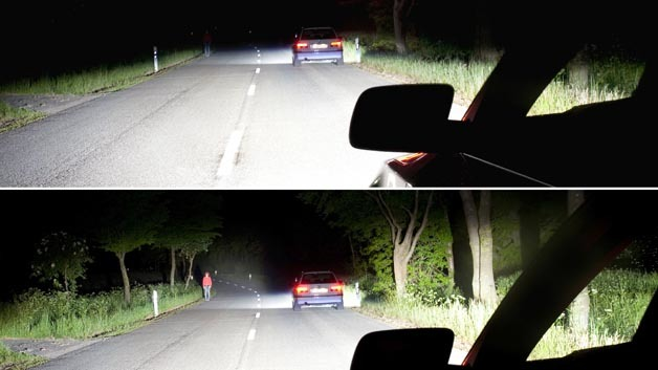 Im Vergleich zum Abblendlicht können Gefahren mit blendfreiem Fernlicht rund 1,4 s eher oder 30 m früher erkannt werden.
