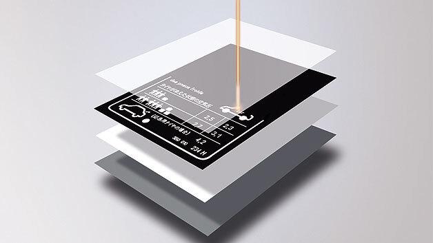 Bild 2. Bei der Laserkennzeichnung dringt der Laserstrahl durch die transparente Schicht der Laserfolie und legt so die Farbreferenzschicht frei.