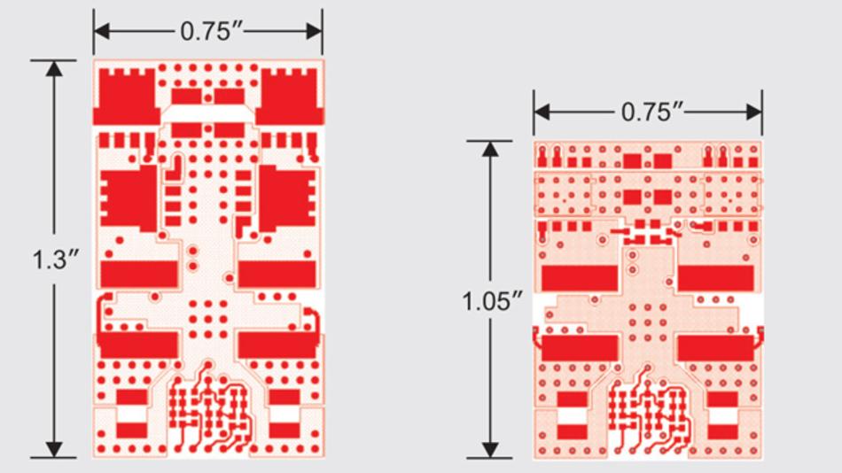 Bild 2: Die Stacked-FET-Lösung (links) benötigt 20 Prozent weniger Fläche als die Variante mit diskreten FETs (rechts)
