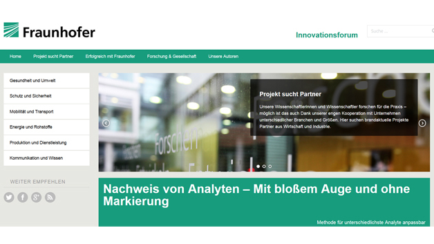 Online-Portal »Fraunhofer-Innovationsforum«