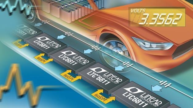 Integrierter Spannungsmonitor für vielzellige Hochspannungs-Autobatterien: der LTC6811.