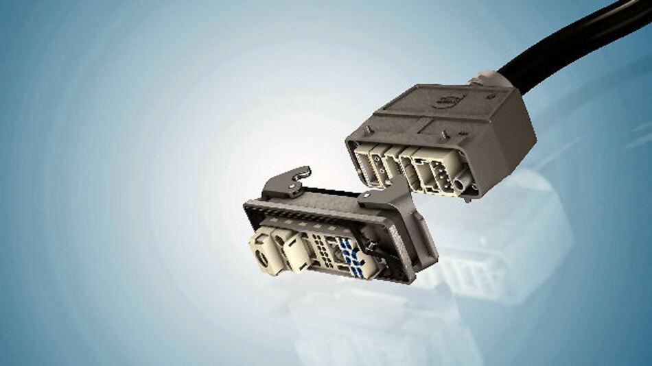 Han steht für Harting-Norm, hier Han-B-Gehäuse mit Kontakteinsätzen der Reihe Han-Modular zur Übertragung von Leistung, Daten und Signalen