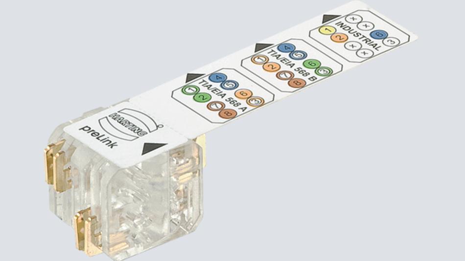 Bild 1: Beim »preLink«-System von Harting nimmt ein spezieller Anschlussblock – wiederverwendbar in diversen Harting-Steckverbindern – die einzelnen Litzen durch Schneidklemmen auf