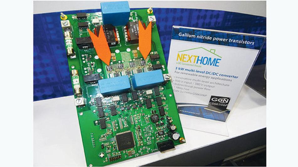 Bild 2. Das NextHome-DC-Wandler-Board mit den Hochleistungstransistoren GS66506P von GaN Systems.