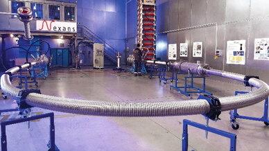 Ein Teil des Hochtemperatur-Supraleiter-Kabels, das RWE im Rahmen des Pilotprojekts AmpaCity in Essen betreibt.