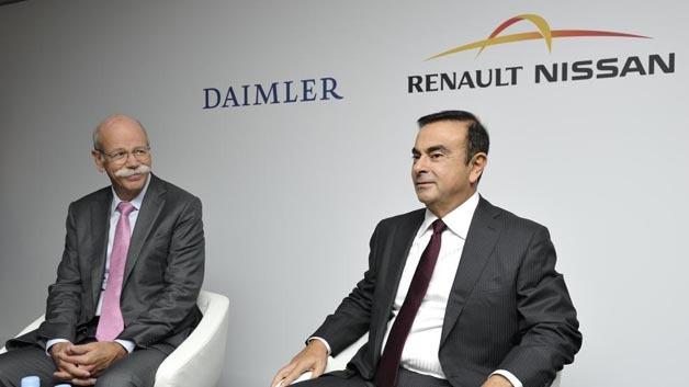 """Der neue und der """"alte"""" ACEA-Präsident: Dr. Dieter Zetsche, Daimler (links), beerbt Carlos Ghosn, Renault-Nissan Allianz."""