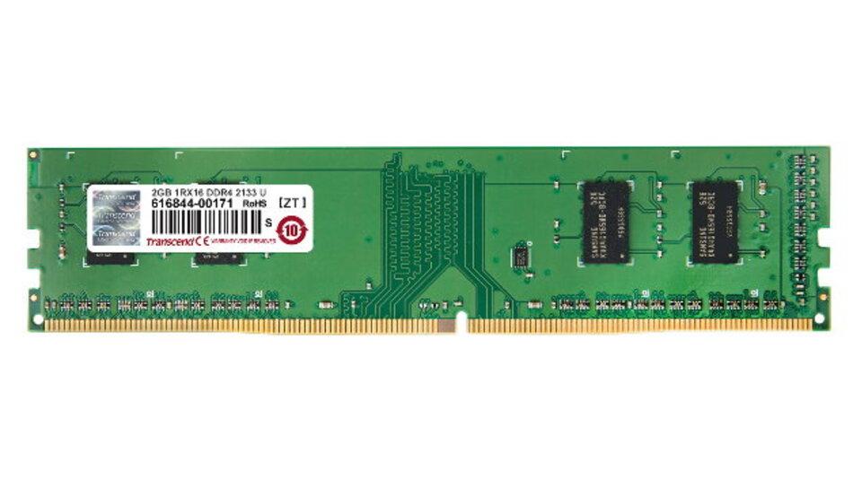 Überall wo der Bedarf an Speicherkapazität gering ist, können die Anwender mit den 2-GByte-DDR4-Modulen von Transcend die Kosten deutlich senken.
