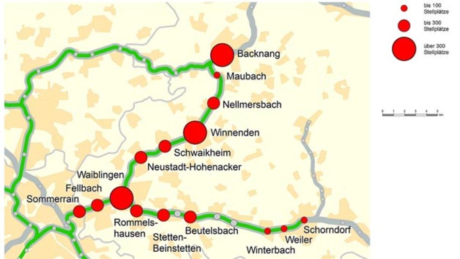 In der Region Stuttgart gibt es über 100 Park + Ride-Anlagen mit zwischen 50 und 700 Stellplätzen. Im Bereich des Pilotprojekts verfügt die kleinste Anlage über 49 Plätze (Schorndorf) und die größte über 520 Stellplätze (Waiblingen).