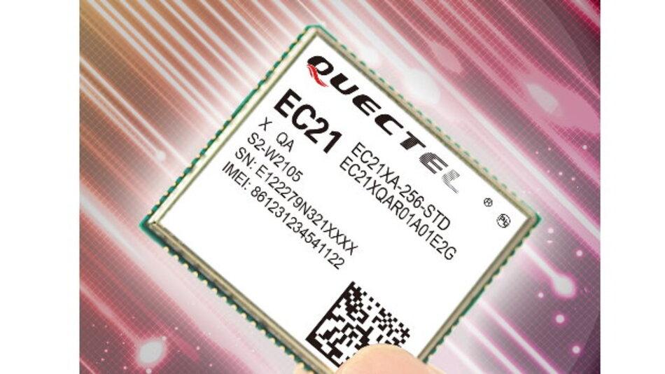 Das EC21-Modul sitzt im LCC-Gehäuse und ist mit seinen Abmessungen von 29,0 mm x 32,0 mm x 2,5 mm eines der weltweit kleinsten M2M-Cat.1-LTE Module am Markt.