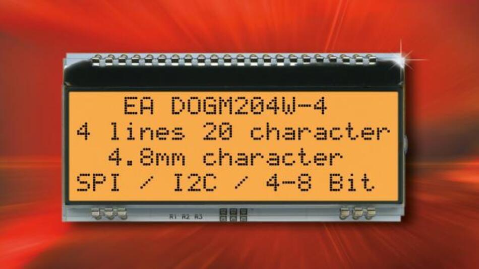 Die Supertwist-LCD-Technik gewährleistet bei Electronic Assemblys intelligenter, alphanumerischer Display-Familie EA DOGM204-A eine kontrastreiche Darstellung der maximal 20 Zeichen auf vier Zeilen.