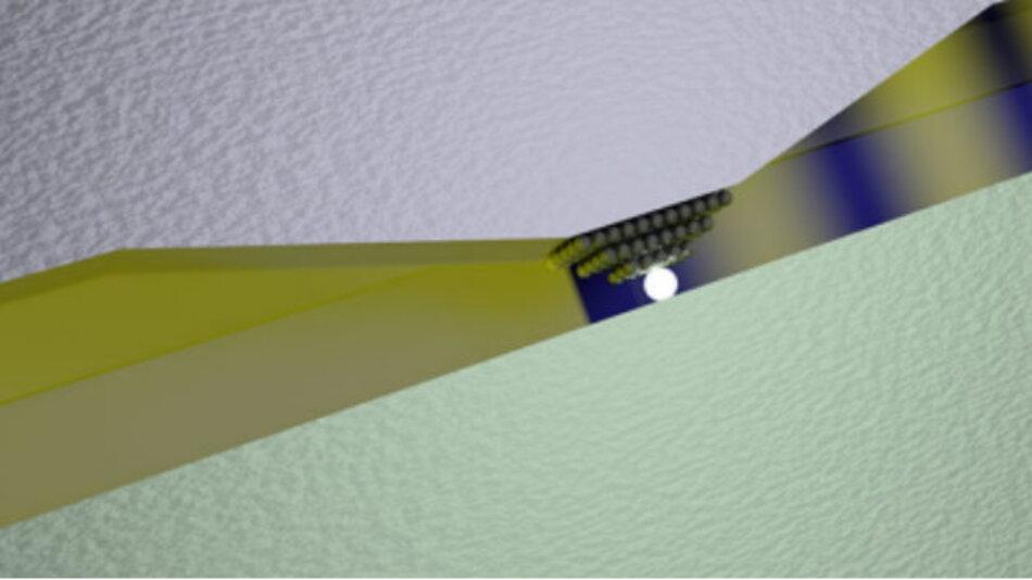 : Der Schalter basiert auf der spannungsbedingten Verschiebung eines oder mehrerer Silberatome in den schmalen Spalt zwischen einer Silber- und einer Platinplatte.