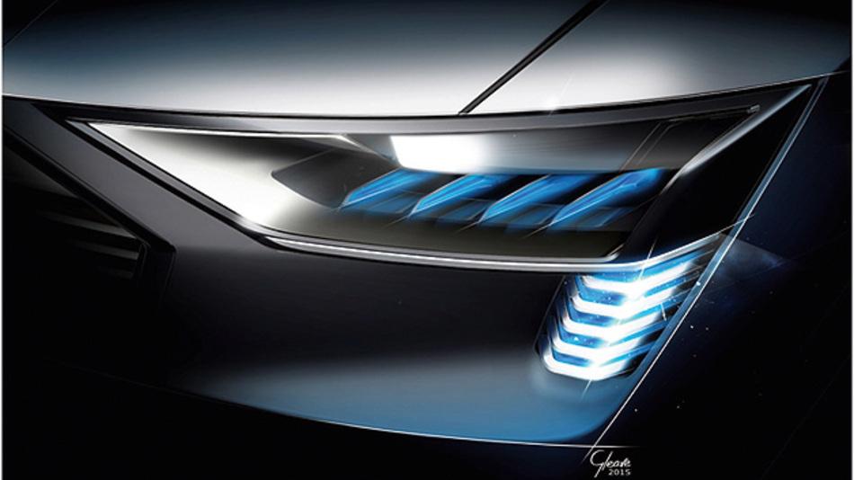 Bild 1. Die Scheinwerfer des Audi e-tron quattro concept besitzen eine spezielle OLED-Lichtsignatur.