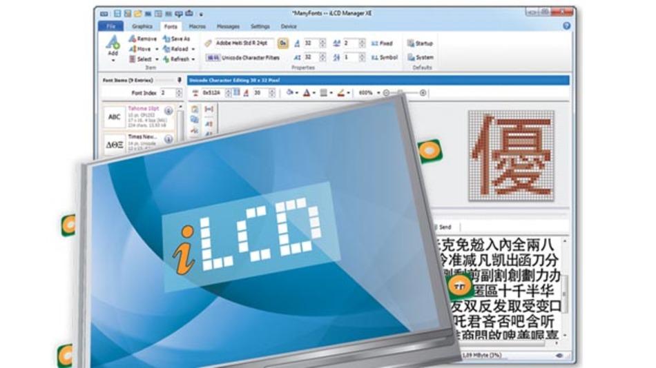 Mit dem iLCD Manager XE lassen sich alle Displays simulieren.
