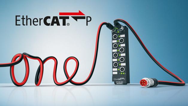 Eine Einkabellösung für die Feldebene:  EtherCAT P integriert in einem Kabel  die EtherCAT-Kommunikation  sowie die System- und  Peripheriespannung.
