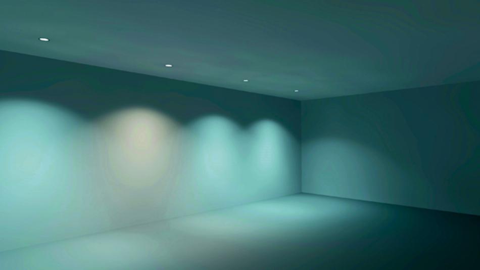 Farbortverschiebungen von LEDs  werden vor allem auf weißen Wänden deutlich sichtbar