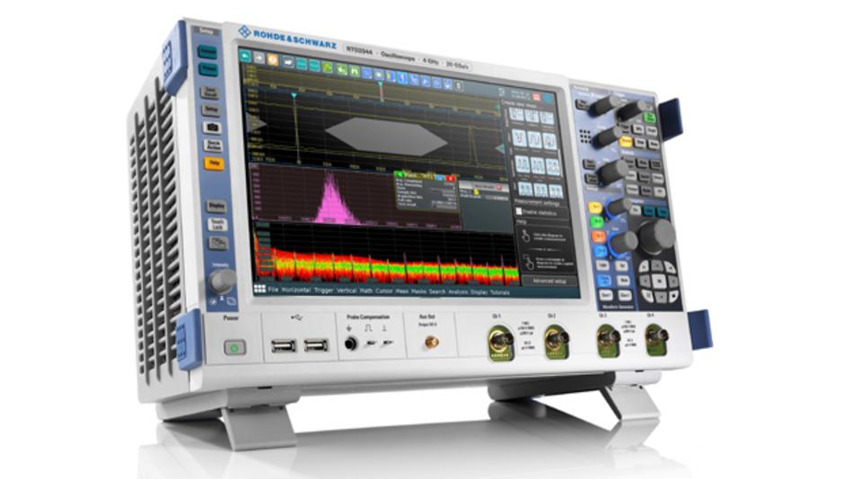 Das R&S RTO2000 von Rohde & Schwarz bietet einen Speicher von bis zu 2 GSa kombiniert mit einer Messrate von einer Million Messkurven pro Sekunde.