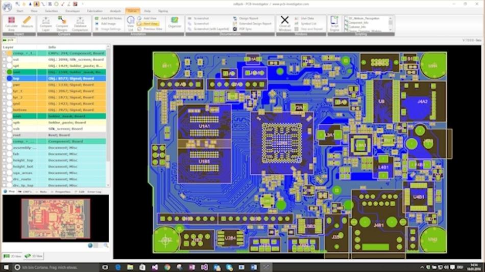 Darstellung einer Leiterplatte in PCB-Investigator auf Basis eines ODB++ Datensatzes.