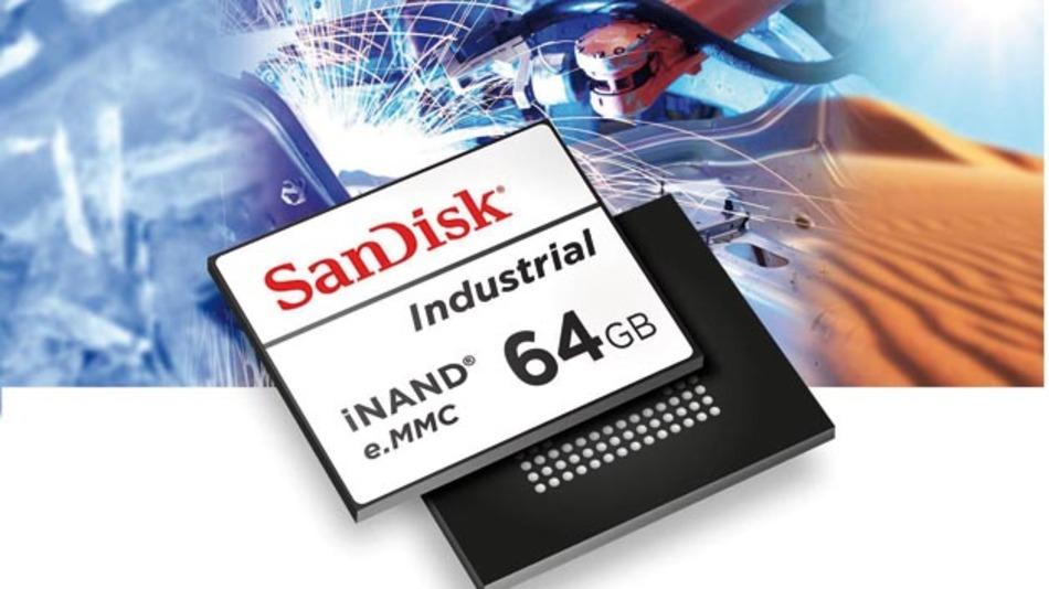 Sandisks eMMC-Flash- Speicherprodukte iNAND  gibt es mit Speicherkapazitäten  von 4 bis 64 GByte.