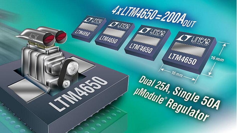 Single-50A- oder Dual-25A-µModule-Regler mit integriertem Kühlkörper